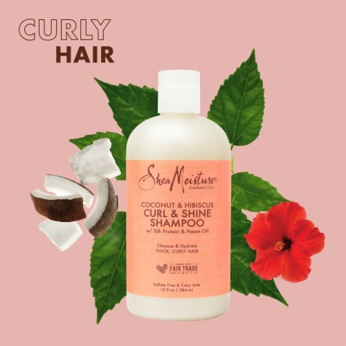 Shea Moisture® Paraben-Free Curl & Shine Coconut & Hibiscus Shampoo for Curly Hair Perspective: left