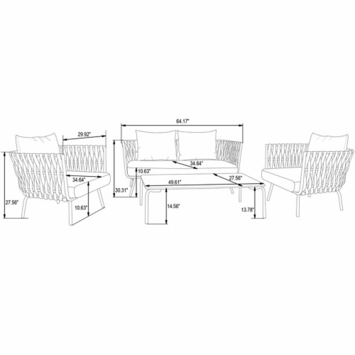 LeisureMod Spencer Modern Outdoor Patio White Marble Top 49  Coffee Table Perspective: left