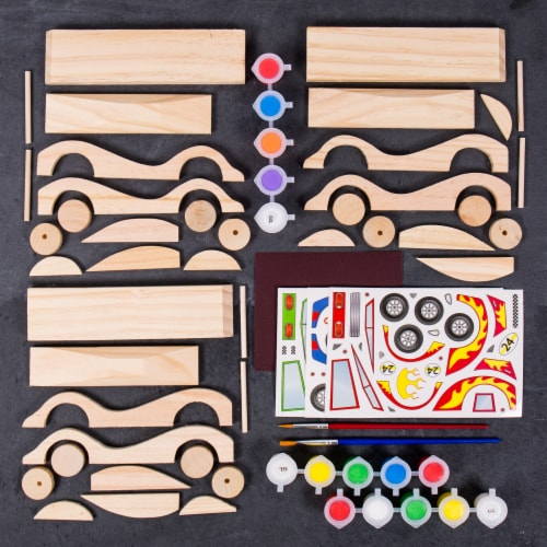 Made By Me Build and Paint Wooden Cars Set Perspective: left