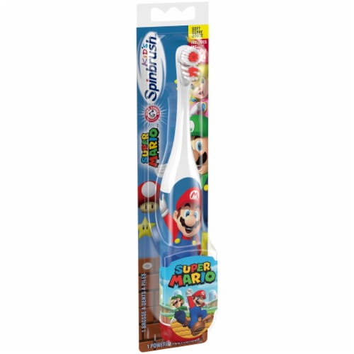 Arm & Hammer Kid's Spinbrush Super Mario Battery-Powered Toothbrush Perspective: left