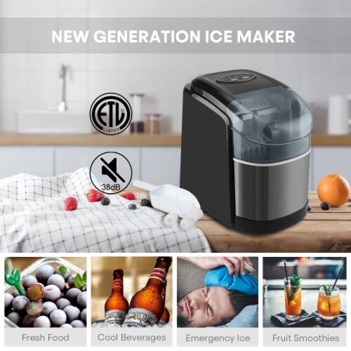 Kumo Portable Ice Maker Countertop - 9 Ice Cubes Ready in 6 Min Electric Ice Making Machine Perspective: left