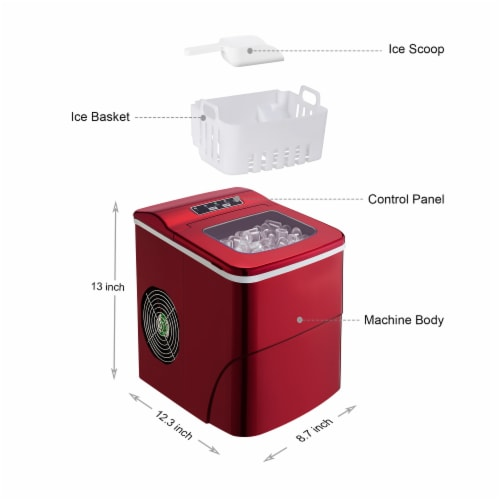 Kumo Countertop Portable Ice Maker Machine 9 Ice Cubes Ready in 6 Mins Makes 26 lbs Ice/24h Perspective: left
