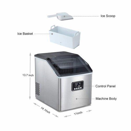 Kumo Portable Ice Maker Machine Countertop Makes 40 lbs Ice in 24 hrs Home Ice Making Machine Perspective: left