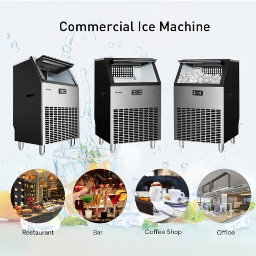 Kumo Commercial Ice Maker Freestanding Makes 265 lbs Ice in 24 hrs Perspective: left