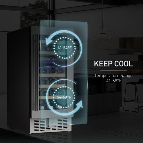 Kumo 15'' Wine Cooler 28 Bottle Built-in or Freestanding Beverage Refrigerator Perspective: left