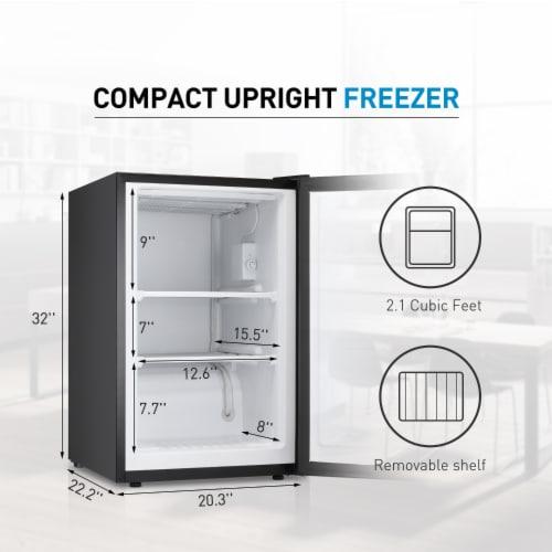 Kumo Upright Freezer 3.2 Cubic Feet Compact Reversible Single Door Vertical Freezer Black Perspective: left