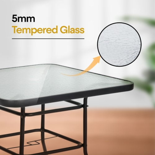 """Kumo 32"""" x 32"""" Outdoor Dining Table Tempered Glass Table Patio Umbrella Stand Perspective: left"""