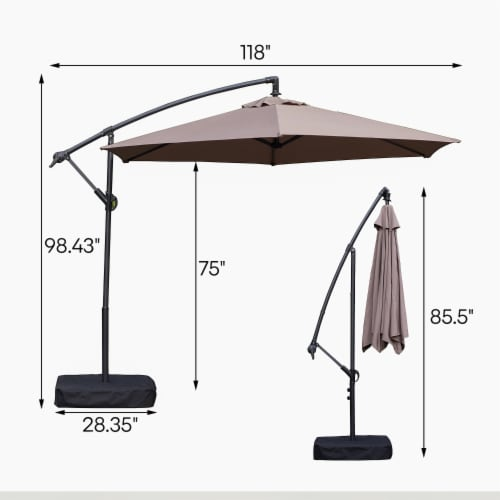 Kumo 10 Ft Patio Umbrella Outdoor with Base Offset Umbrella for Garden, TAUPE Perspective: left