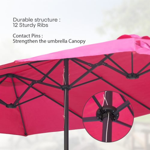 Kumo 15ft Rectangular Patio Double Sided Outdoor Large Umbrella With Sand Base(Rose Red) Perspective: left