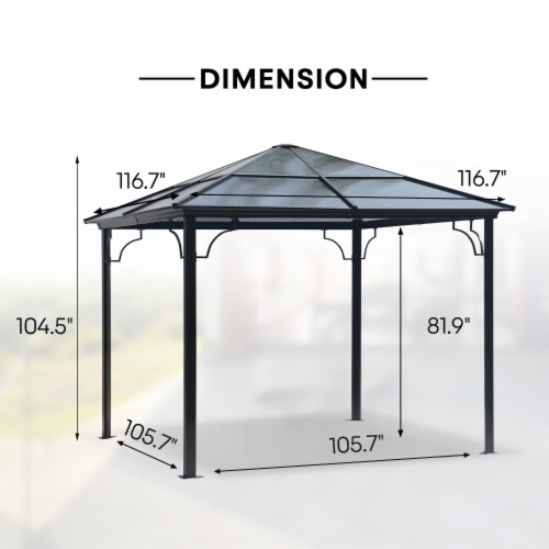 Kumo 10x10 Hardtop Gazebo Aluminum Frame and Polycarbonate Hardtop with Netting and Curtains Perspective: left