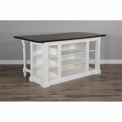 Sunny Designs Carriage House 71.5  Wood Kitchen Island in White/Dark Brown Perspective: left