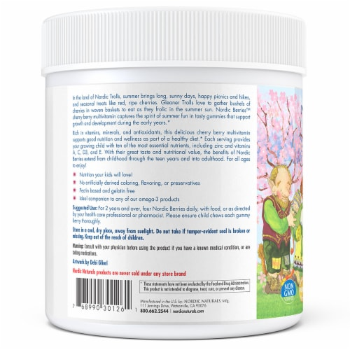 Nordic Naturals Nordic Berries Multivitamins for Adults & Kids - Cherry Berry Flavored Perspective: left