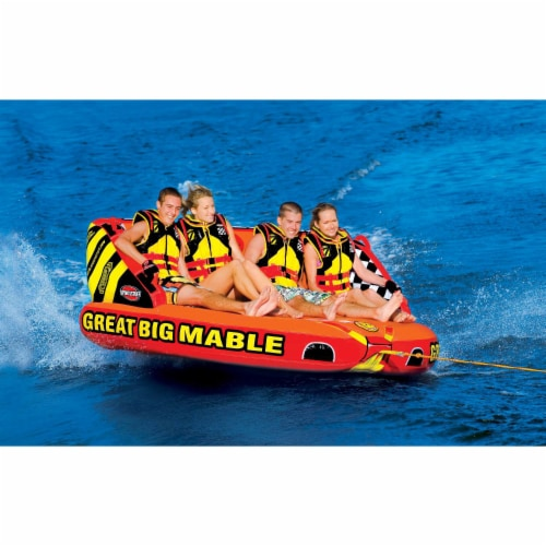 SPORTSSTUFF 53-2218 Great Big Mable 4-Rider Inflatable Towable Tube w/ Tow Rope Perspective: left