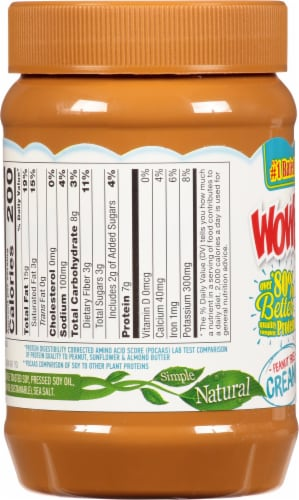 WOWBUTTER Creamy Peanut Free Soy Butter Spread Perspective: left