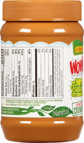WOWBUTTER Crunchy Peanut Free Toasted Soy Butter Perspective: left