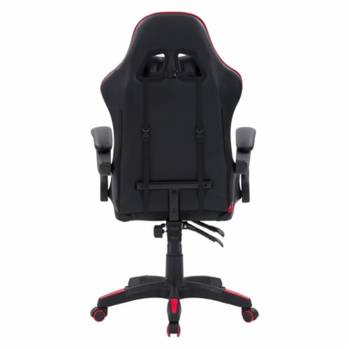 CorLiving Ravagers Vinyl Fabric Gaming Chair in Black and Red Perspective: left