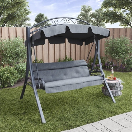 CorLiving Patio Swing with Arched Canopy in Textured Grey Perspective: left