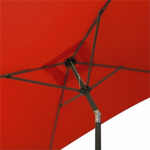 CorLiving  Square Tilting Crimson Red Fabric Patio Umbrella Perspective: left