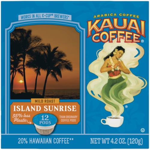 Kauai Coffee Island Sunrise Mild Roast Ground Coffee Single-Serve Pods Perspective: left