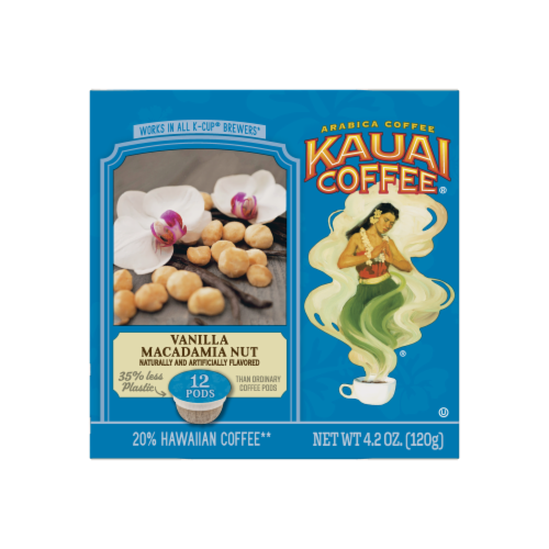 Kauai Coffee Vanilla Macadamia Nut Ground Coffee Single-Serve Pods Perspective: left