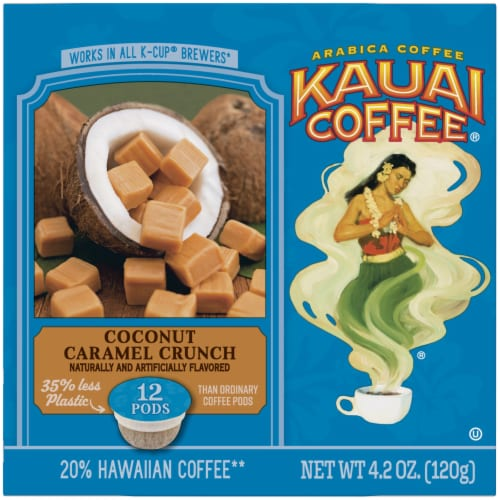 Kauai Coffee Coconut Caramel Crunch Ground Coffee Single-Serve Pods Perspective: left