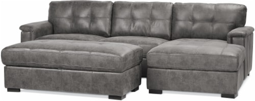 Emerald Home Furnishings Gray Storage Ottoman Perspective: left