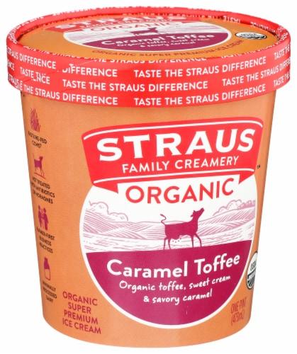 Straus Organic Caramel Toffee Crunch Ice Cream Perspective: left