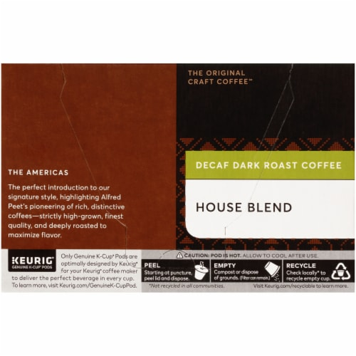 Peet's Coffee House Blend Decaffeinated Dark Roast Coffee K-Cup Pods Perspective: left