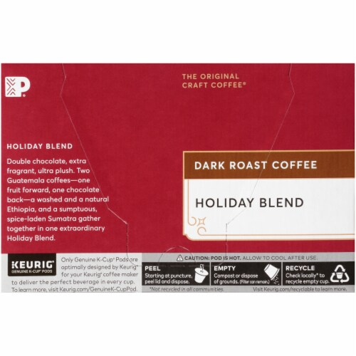 Peet's Coffee Holiday Blend Dark Roast Coffee K-Cup Pods Perspective: left