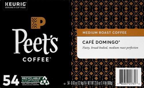 Peet's Coffee Cafe Domingo Medium Roast Coffee K-Cup Pods 54 Count Perspective: left