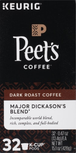 Peet's Coffee Major Dickason's Blend Dark Roast Coffee K-Cup Pods Perspective: left