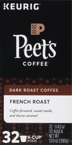 Peet's Coffee French Dark Roast Coffee K-Cup Pods 32 Count Perspective: left