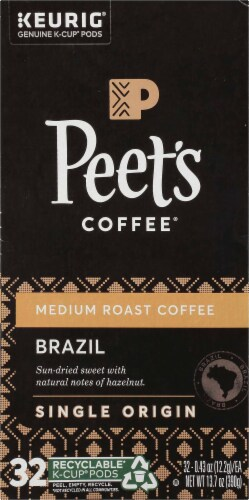 Peet's Coffee Brazil Minas Naturais Medium Roast Coffee K-Cup Pods 32 Count Perspective: left