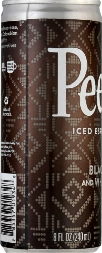 Peet's Coffee Black and White Iced Espresso Coffee Drink Perspective: left