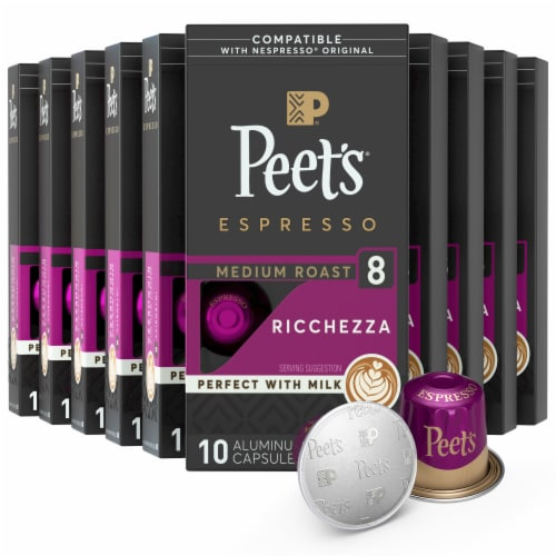 Peet's Coffee Ricchezza Arabica Espresso Coffee Aluminum Capsules Perspective: left