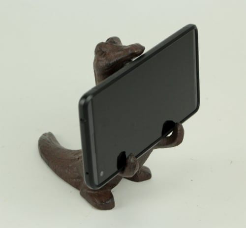 Brown Cast Iron Alligator Cell Phone Stand Perspective: left