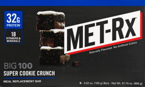 Met-Rx Big 100 Super Cookie Crunch Bars Perspective: left