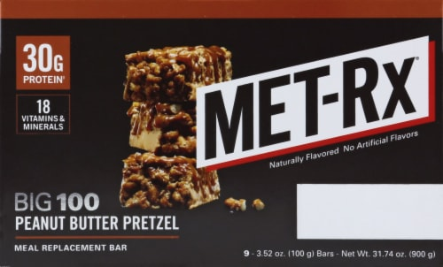 Met-Rx Big 100 Peanut Butter Pretzel Bars Perspective: left