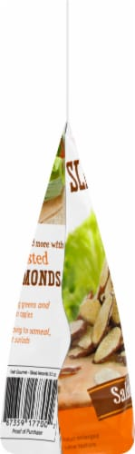 Fresh Gourmet Honey Roasted Sliced Almonds Salad Topping Perspective: left