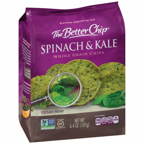 The Better Chip Spinach & Kale Whole Grain Chips Perspective: left
