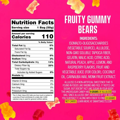 SmartSweets Smart Sweets, Gummy Bears Fruity, 1.8 Ounce (Pack of 4) Perspective: left