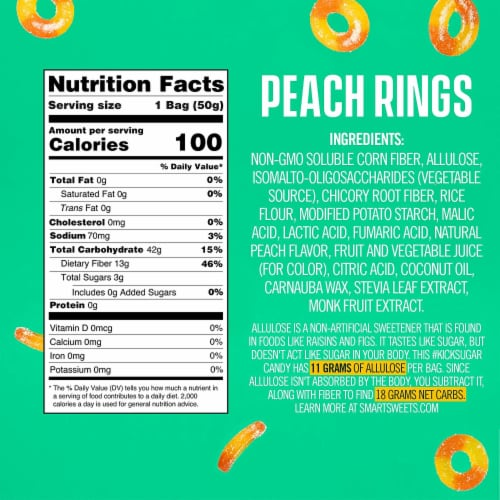 SmartSweets SMART SWEETS Peach Rings, 1.8 OZ (Pack of 4) Perspective: left