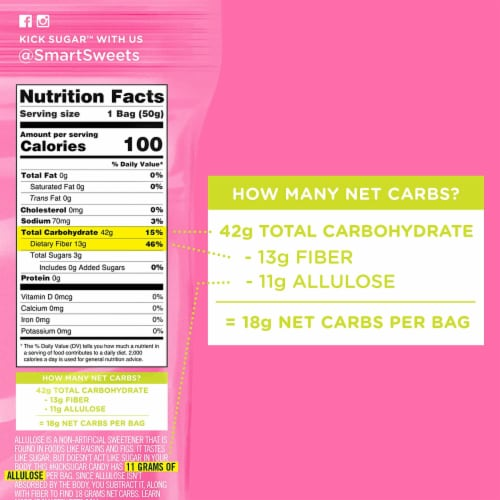 SmartSweets Sourmelon Bites, Candy with Low Sugar (3g), Low Calorie, 1.8 oz (Pack of 4) Perspective: left