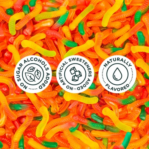 Smart Sweets Gummy Worms, Candy with Low Sugar (4g), Low Calorie, (Pack of 1) Perspective: left