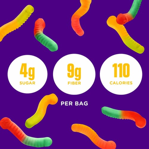 Smart Sweets Gummy Worms, Candy with Low Sugar (4g), Low Calorie, (Pack of 12) Perspective: left