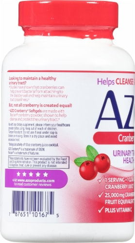 Azo Cranberry Urinary Tract Supplement Softgels Perspective: left
