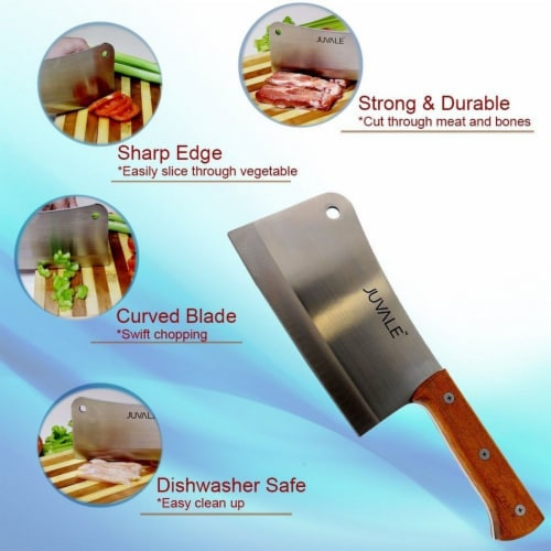 Meat Cleaver, Heavy Duty Knife with Solid Wood Handle (Stainless Steel, 8-In) Perspective: left