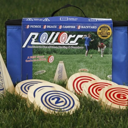 Rollors Outdoor All Wood Game Combining Bocce, Horseshoes and Bowling Perspective: left