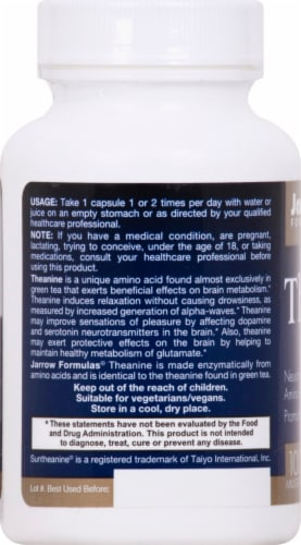 Jarrow Theanine 100 mg Capsules Perspective: left