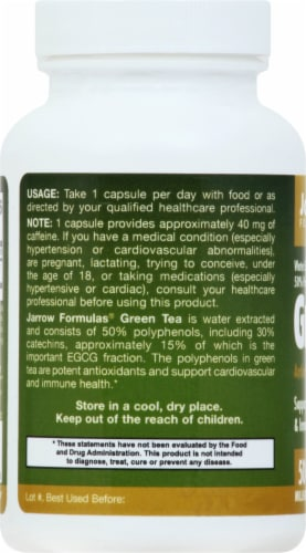Jarrow Formulas Green Tea Dietary Supplement 500mg Perspective: left
